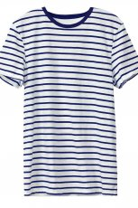 niebieski t-shirt H&M w paski - lato 2012