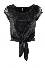czarna bluzka H&M wi�zana w talii