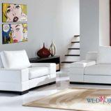 bia�y komplet wypoczynkowy do salonu - meble w stylu nowoczesnym