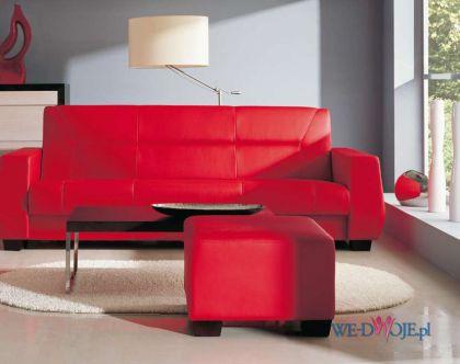 czerwona sk�rzana sofa - nowoczesne wn�trza