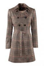 z paskiem p�aszcz H&M w kratk� - jesie�-zima 2012/2013