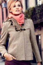 uroczy kr�tki p�aszczyk H&M w kolorze popielatym - moda damska jesie�-zima 2012/2013
