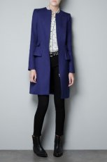 pi�kny p�aszcz ZARA w kolorze kobaltowym - moda damska jesie�-zima 2012/2013