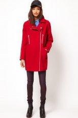 zimowy p�aszcz Asos na zamek w kolorze czerwonym - moda jesienno-zimowa 2012/2013
