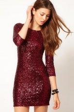zjawiskowa b�yszcz�ca sukienka Asos w kolorze bordowym - jesie�-zima 2012/2013