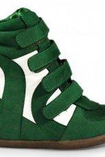 na koturnie obuwie sportowe Stylowe buty w kolorze ciemnozielonym