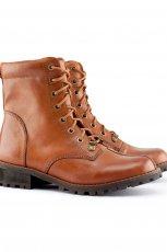 sk�rzane i wi�zane botki H&M w kolorze br�zowym  - kolekcja jesie�-zima 2012/2013