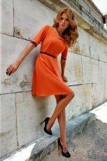 pomara�czowa sukienka TARANKO z paskiem - kolekcja jesienna