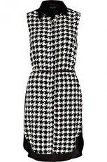 lu�na sukienka River Island w bia�o - czarn� pepitk�  - jesienne sukienki 2012/2013
