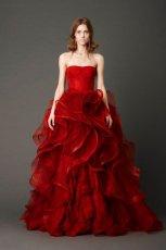 oryginalna  czerwona suknia �lubna typu ksi�niczka Vera Wang   z kolekcji wiosennej 2013