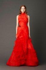 wyj�tkowa  czerwona suknia �lubna Vera Wang   moda wiosenna 2013