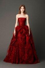 pi�kna  bordowa suknia �lubna rokloszowana Vera Wang   z kolekcji wiosennej 2013