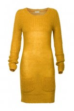 modna sukienka Solar w kolorze z�otym z kieszeniami  - kolekcja jesienno-zimowa 2012/13