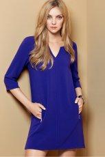 trapezowa sukienka H&M w kolorze kobaltowym  - moda damska 2012/13