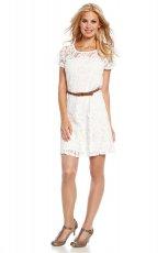 koronkowa sukienka do kolan C&A w kolorze bia�ym   - kolekcja jesienno-zimowa 2012/13