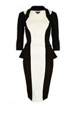 elegancka sukienka River Island w kolorze czarno - bia�ym z baskink�  - kolekcja jesienno-zimowa 2012/13