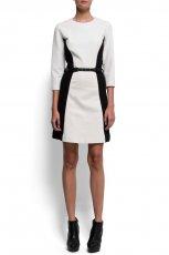 elegancka sukienka Mango w kolorze szaro - czarnym z paskiem  - moda damska 2012/13