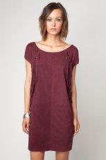 lu�na sukienka Bershka w kolorze bordowym z kr�tkim r�kawem - sukienki 2012/13
