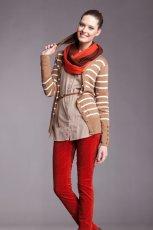 kardigan Moodo w paski w kolorze br�zowym  - ubrania dla kobiet