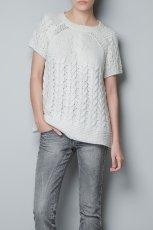 we�niany z kr�tkim r�kawem sweter ZARA   - ubrania dla kobiet na jesie� i zim�
