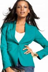 kobieca marynarka H&M w kolorze turkusowym - modne marynarki