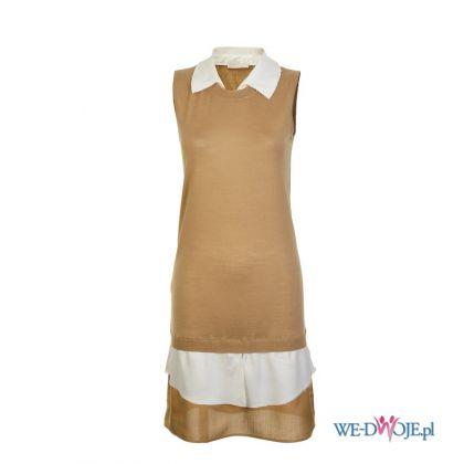 Urocza be�owa sukienka Stefanel modna jesie� i zima 2012/13