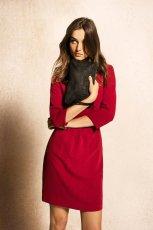 modna sukienka z r�kawem 3/4 Massimo Dutti w kolorze bordowym - kolekcja dla kobiet