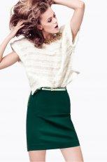 modna sp�dnica H&M w kolorze butelkowej zieleni - sp�dniczki na jesie� i zim�