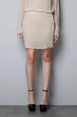 elegancka sp�dnica ZARA w kolorze be�owym - moda dla kobiet