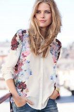 urocza koszula H&M w kwiaty w kolorze ecru - jesie� i zima 2012/13