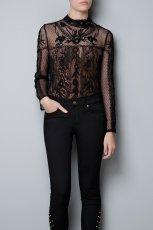 koronkowa bluzeczka ZARA w kolorze czarnym - moda damska 2012/13