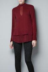 �liczna bluzeczka ZARA w kolorze bordowym - jesie� i zima 2012/13