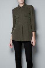 modna koszula ZARA w kolorze khaki - moda na jesie� i zim�
