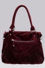 zamszowa torebka Bershka w kolorze bordowym - torebki na jesie� i zim�