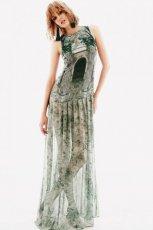 d�uga sukienka H&M w kolorze zielonym - moda na wiosn� i lato 2013