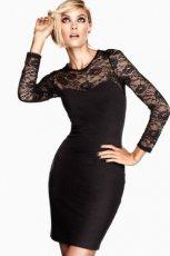 sukienka wieczorowa H&M z koronk� w kolorze czarnym - zima 2012/13