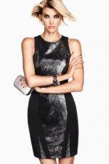 sukienka wieczorowa H&M z cekinami w kolorze czarnym - zima 2012/13