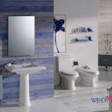 Modna �azienka Roca w stylu klasycznym w kolorze blekitu drewniane panele