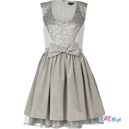 rozkloszowana sukienka River Island w kolorze srebrnym - sukienka na studni�wk�