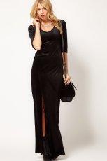 aksamitna sukienka wieczorowa Asos w kolorze czarnym