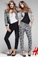 spodnie H&M ze wzorem w kolorze szarym - wiosna 2013