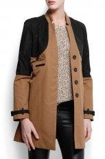 elegancki p�aszczyk Mango w kolorze br�zowo-czarnym - moda na wiosn� i lato 2013