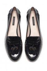 mokasyny ZARA w kolorze czarnym - moda na wiosn� 2013