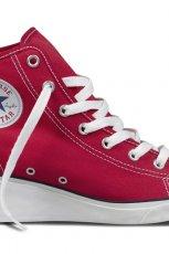 modne na koturnie trampki Converse w kolorze czerwonym - lato 2013