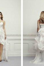 suknia �lubna Zie� z falbankami asymetryczna