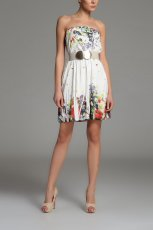 bia�a sukienka Top Secret w kwiaty - wiosna/lato 2013