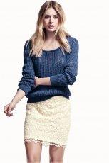 koronkowa sp�dniczka H&M w kolorze ecru - wiosna i lato 2013