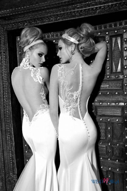 suknia �lubna Galia Lahav z koronk� z dekoltem  na plecach