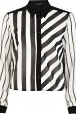 bia�o-czarna koszula River Island w paski - trendy na wiosn� i lato 2013