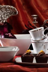Pi�kny serwis kawowy w kolorze bia�ym z delikatnymi zdobieniami - inspiracje marki �miel�w 2013